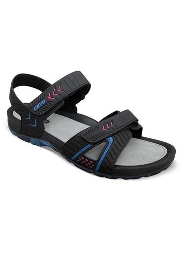 Ceyo Cırtcırt Kapatmalı Sandalet Siyah